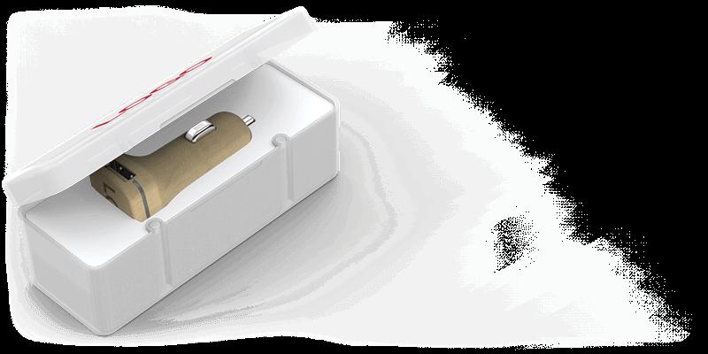 Woodie - Logotrycka billaddare