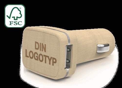 Woodie - Logotryckta USB billaddare
